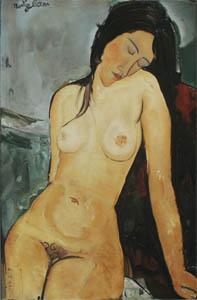 Copia de: Amedeo Modigliani   Nudo femminile seduto   olio su tela 59,5 x 92,4