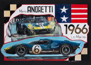 Cobra Daytona Coupè - 24 ore Le Mans 1964 acrilico su cartone fabriano gr 400 50 x 70