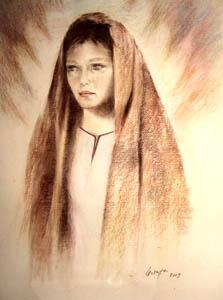 Chiara d'Assisi  carboncino su murillo 40 x 60