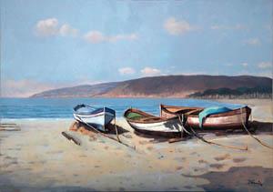 Barche sulla spiaggia - 2009  olio su tela 60 x 50