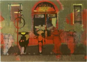 Negizio di biciclette a Bellaria - 1994 olio su tavola telata 70 x 50