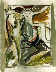 Battaglia - 1957   tecnica mista su carta
