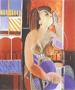 Figura e Ambiente Interno/Esterno - 1970 olio su tela 60 x 70
